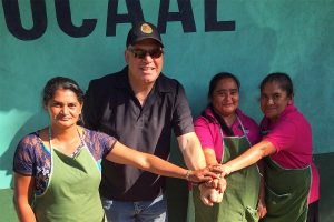 Andrew Vournas meeting with female coffee roasters in Honduras
