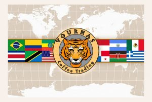 Graphic of the Vournas Coffee Trading logo with national flags significant to the specialty coffee industry super-imposed over a world map, covering the equatorial coffee growing region known as the coffee belt.