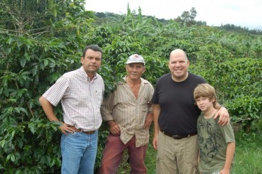 Andrew and Zach with Costa Rican Coffee Farmers