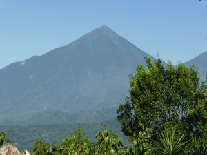 A view of the Atitlan Volcano from a specialty green coffee farm in Guatemala