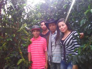 Colombian Coffee Farmer José Suárez & Family with Coffee Trees, Finca La Esperanza
