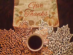 Thanksgiving Black Coffee Mug, Give Thanks Message