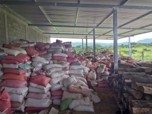Stacks of multicolored bags of specialty green coffee under a rain cover at a coffee washing mill in Honduras