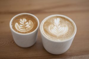 Two cappuccino lattes