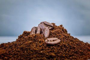 Coffee grounds closeup, macro coffee photo